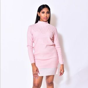 992253ad418 Dresses   Skirts - PINK SWEATER DRESS WITH PEARL